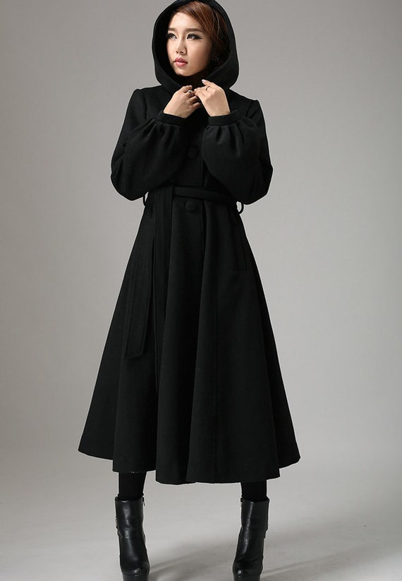 Maxi wool coat Long sleeve womens long swing coat with hood