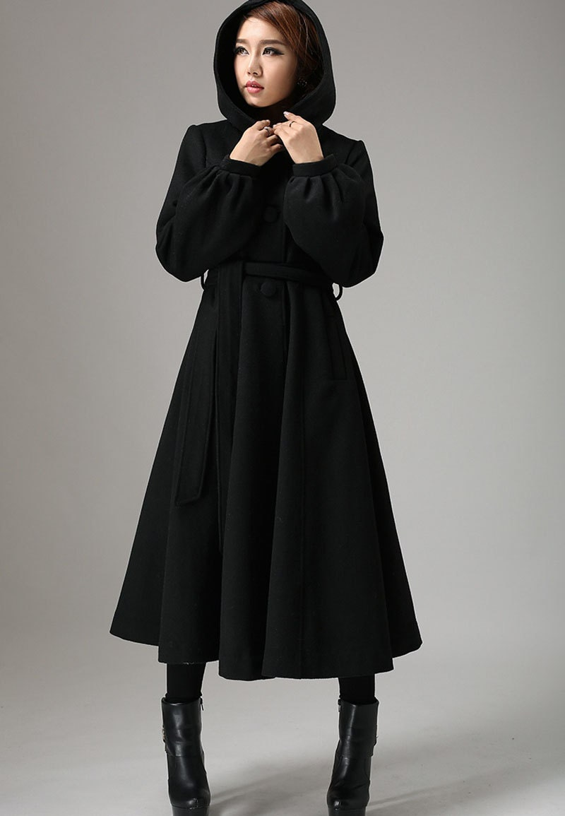 Long Black Wool Coat With Hood | Down Coat