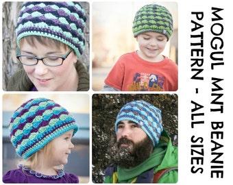 CROCHET HAT PATTERNS - Mogul Mountain Beanie - Adults & Kids Sizes