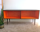Mid Century Modern Record Player Cabinet Media Table TV Stand Entertainment Cabinet, MCM Orange and Chocolate Brown (or custom color)