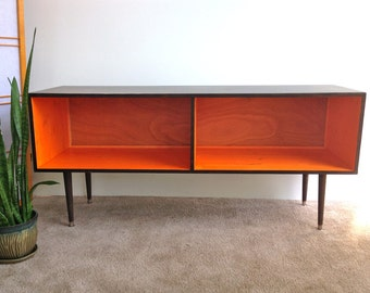 mid century modern record player cabinet media table tv stand cabinet mcm orange and
