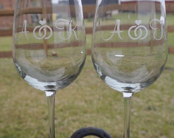 Double Ring Personalized Etched Glass Wine Glasses, Bride, Groom, MOB, FOB by Jackglass on Etsy