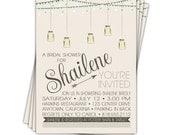 10 Invites - Mason Jar Invitation - Bridal shower invite - Wedding shower invitation //you can change the colors// - Shailene design