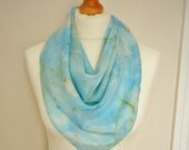 RESERVED FOR SUE Naturally Dyed Marled Sky Blue Printed Triangular Silk Scarf