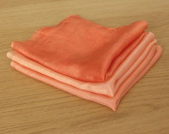 Peach Warmth Silk Handkerchiefs - Set of Three - Naturally Dyed - Gift Wrapped