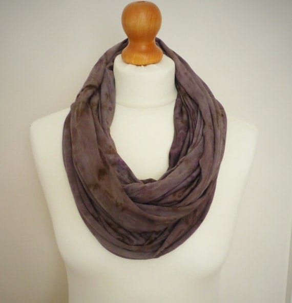 Moody Lilac Long Jersey Cotton Snood Infinity Scarf - Hand Dyed Mens & Womens Fashion Accessory - Naturally Dyed - OOAK - Ready to Ship