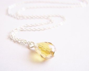 SALE - Sparkling Warm Honey Crystal Teardrop Necklace - bridal - wedding - bridesmaids - affordable gifts - beach - free shipping WAI