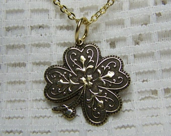 Shamrock Pendant - Gold 4 Leaf Clover Necklace - Antiqued Gold - LUCKY Charm - Shamrock - Irish Jewelry - Irish Wedding - Polished Brass