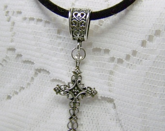 Celtic Cross Necklace - Gothic Cross - Cross  Pendant - Velvet necklace - Christian Cross - Filigree Cross  Celtic Knot - Irish Jewelry