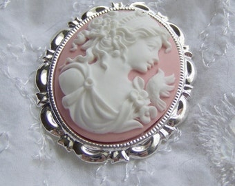 GODDESS Cameo - APHRODITE with Dove - Cameo Pendant - Cameo Brooch - Pink and White - Brooch Pendant combination - Bouquet Jewelry