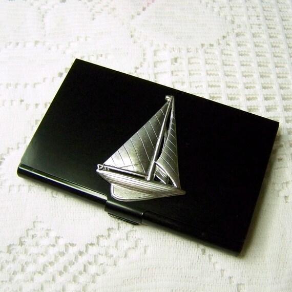 SAILBOAT Business Card Holder Sailing ship Case Sloop