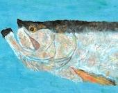 "Tarpon - ""Dream Maker"" - Gyotaku Fish Rubbing - Limited Edition Print (34 x 14)"