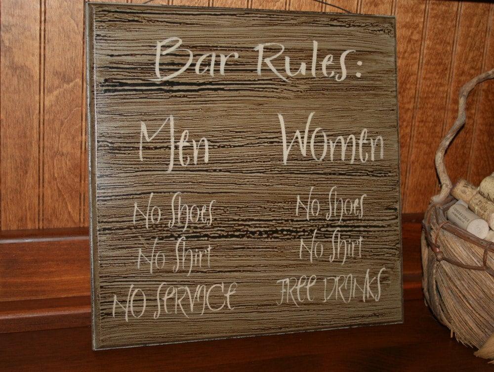 Bar sign rules pub decor man cave funny