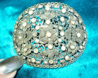 1920s Rare Art Deco Paste Rhinestone Pin Finding Ideal for Cuffs, Flapper headbands, dress trim
