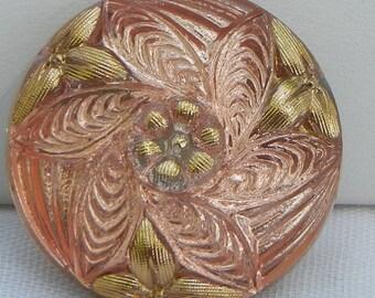 Leaf Cluster Czech Glass Button