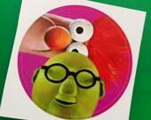 Bunsen and Beaker Muppets Fan Art Pop Art Round Sticker 3 inches