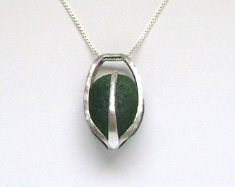 Sea Glass Jewelry - Sterling Caged Dark Green Sea Glass Necklace