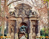 Autumn Paris Photograph, Landscape Photography, Fine Art Paris Photo, Luxembourg Gardens - Medici Fountain in Autumn