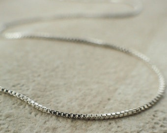 1mm Sterling Silver Chain - Square Venetian Box - Finished with Clasp or By The Foot