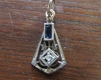 Art Deco antique gold diamond and sapphire pendant
