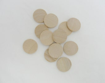 """25 wooden 1"""" Circles, 1 inch wooden disc, 1"""" wood disk 1/8"""" thick unfinished DIY"""