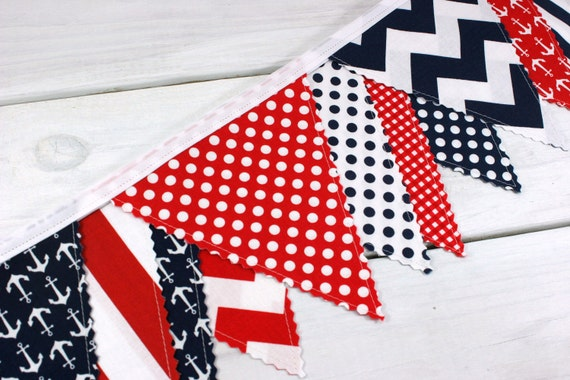 Bunting Banner, Photography Prop, Fabric Flags, Nautical Nursery Decor, Baby Shower - Red, Navy Blue, Chevron, Anchors