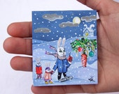 """SALE 70% off, Small Acrylic Original Painting on Tiny Canvas """"Christmas tree"""" Rabbits with Funny Carrot"""