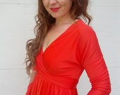butterfield 8 sexy Vintage 60s BOMBSHELL hourglass orange  RED  cocktail Dress Size X small