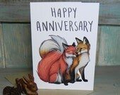 Fox Couple Illustration 'Happy Anniversary' Greeting Card - 280gsm White Card 177 x 127mm Blank Inside with Brown Recycled Envelope