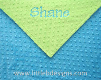 Personalized Minky Blanket - Turquoise Blue Minky with Lime Green Minky - Baby Blanket