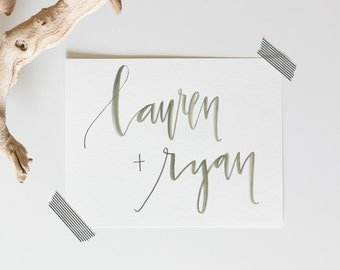 Olive Watercolor Custom Name Calligraphy