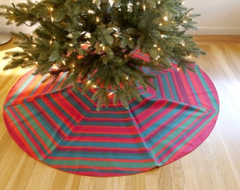 Marimekko Red Green Striped Christmas Tree Skirt