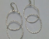 Sterling Silver Double Oval Drop Earrings