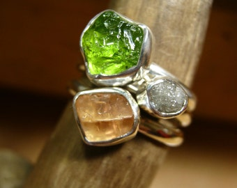 Custom Rough gemstone - Stacking Ring with Your choice of Birthstone - Mother's Rings - in Sterling Silver