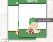 Football Baby Sports Matching Flat Card Thank you Note, Size 4x6 INSTANT DOWNLOAD