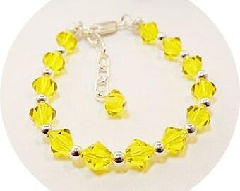 Yellow Bracelet, Crystal Bracelet, Kids Bracelet, Flower Girl Jewelry, Pageant Jewelry, Toddler Jewelry, Girls Jewelry, Citrine, November