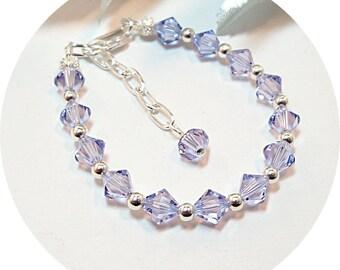 Girls Bracelet, Purple Bracelet, Lilac Bracelet, Violet Bracelet, Flower Girl Jewelry, Pageant Jewelry, Kids Jewelry. Toddler Jewelry