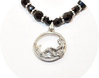 Mermaid Necklace, Mermaid Pendant, Black Necklace, Mermaid Jewelry, Mermaid, Pendant Necklace, Holiday Gift, Ladies Jewelry, Teen Jewelry