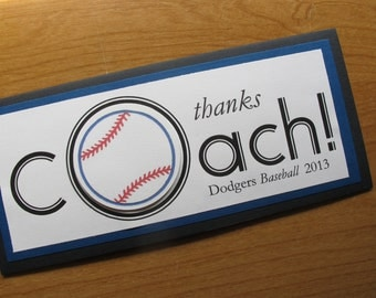 Thanks Coach, Baseball, Personalized Card