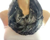 Dark Gray/Charcoal tie dyed floral ruffle infinity scarf with a little purple-Necklace Scarf/cowl-Le dernier cri...