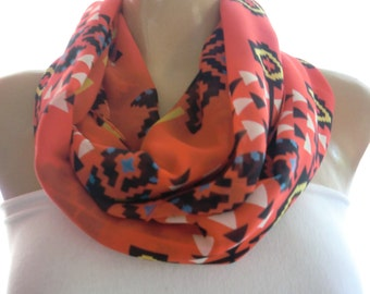Navajo Sunset,Native/tribal print  salmon red chiffon Infinity scarf Circle scarf Loop scarf-Instant gratification-Only one