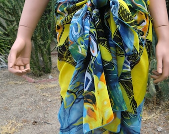Slimming Chiffon Beach wrap, Island Blue green yellow Orange, beach cover,Sarong/Pareo, pool cover up,oversized scarf,shoulder wrap