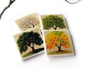 Four Season Coasters, 4 Seasons Oak Tree Table Decor, Decorative Tile, Set of 4