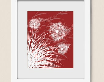 Red Wind Blowing Dandelion Wall Art Print 8 x 10 Modern Living Room Decor, Blowing Grass (230)