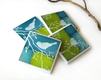 Lime Green Blue Decorative Tile Coasters Set of 4, Bird on Branch Nature Home Decor
