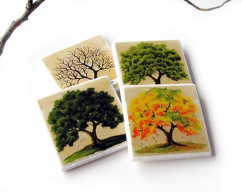 Four Season Coasters, 4 Seasons Oak Tree Table Decor, Decorative Tile, Set of 4