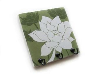 Green Wall Decor Lotus Flower Key Rack Jewelry Hook Organizer, Key Holder, Decorative Tile Key Hook Hanger, Home Decor