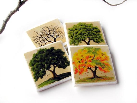 Four season coasters 4 seasons oak tree table decor for 4 season decoration