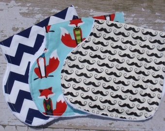 The Couture Mama Everyday Burp Cloth Set , Baby Boy, Minky Backed