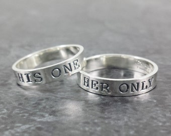 14k White Gold Wedding Band Set - His One Her Only Wedding Rings - Hand Stamped ring set - Wedding rings - Anniversary